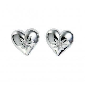 Two Hearts Silver Earrings DE145