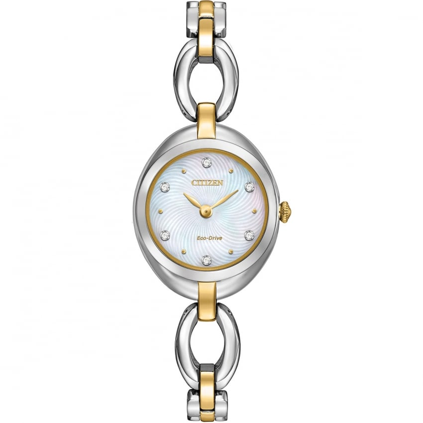 Citizen Two Tone Ladies Silhouette Crystal Watch EX1434-55D