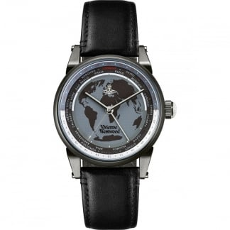 Finsbury World Timer Black Strap Watch VV065MBKBK