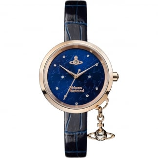 Ladies Bow II Rose Gold/Blue Leather Watch