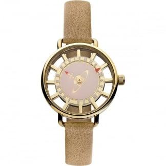 Ladies Brown Strap Open Dial Tate Watch VV055PKTN