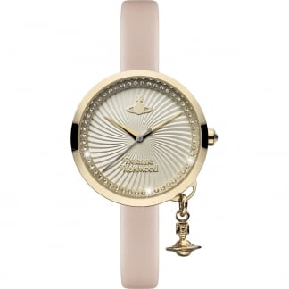 Ladies Gold PVD Pink Strap Bow Watch
