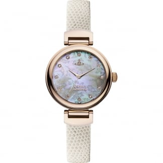 Ladies Hampton Cream Leather MOP Dial Watch