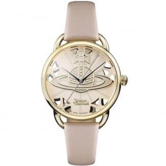 Ladies Leadenhall Pink Leather Gold Tone Watch VV163BGPK
