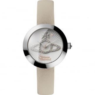 Ladies Queensgate Cream Leather Stone Set Watch