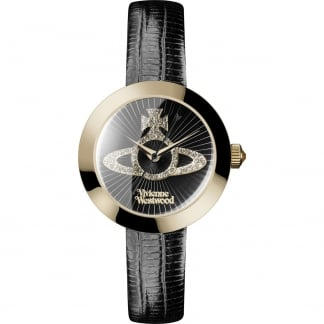 Ladies Queensgate Stone Set Black Leather Watch
