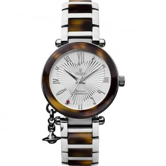 Ladies Steel & Tortoiseshell Orb Watch