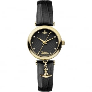 Ladies Trafalgar Crystal Set Black Strap Watch