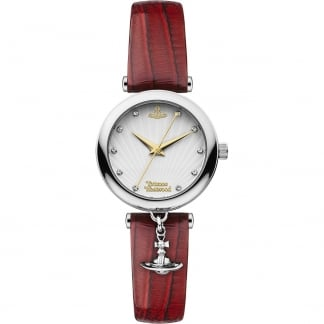 Ladies Trafalgar Crystal Set Red Leather Watch