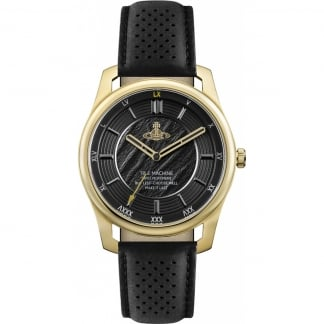 Men's Holborn II Gold/Black Leather Watch