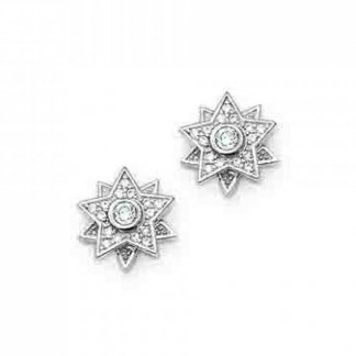 White Cubic Zirconia Star Stud Earrings