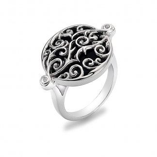 Wild Roses Silver Onyx Ring