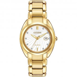Women's Gold Tone Celestial Eco-Drive Watch with Diamond Set Dial EM0312-57A