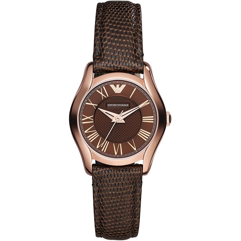 29c1c5da37 Emporio Armani Women's Rose Gold Tone Valente Leather Strap Watch