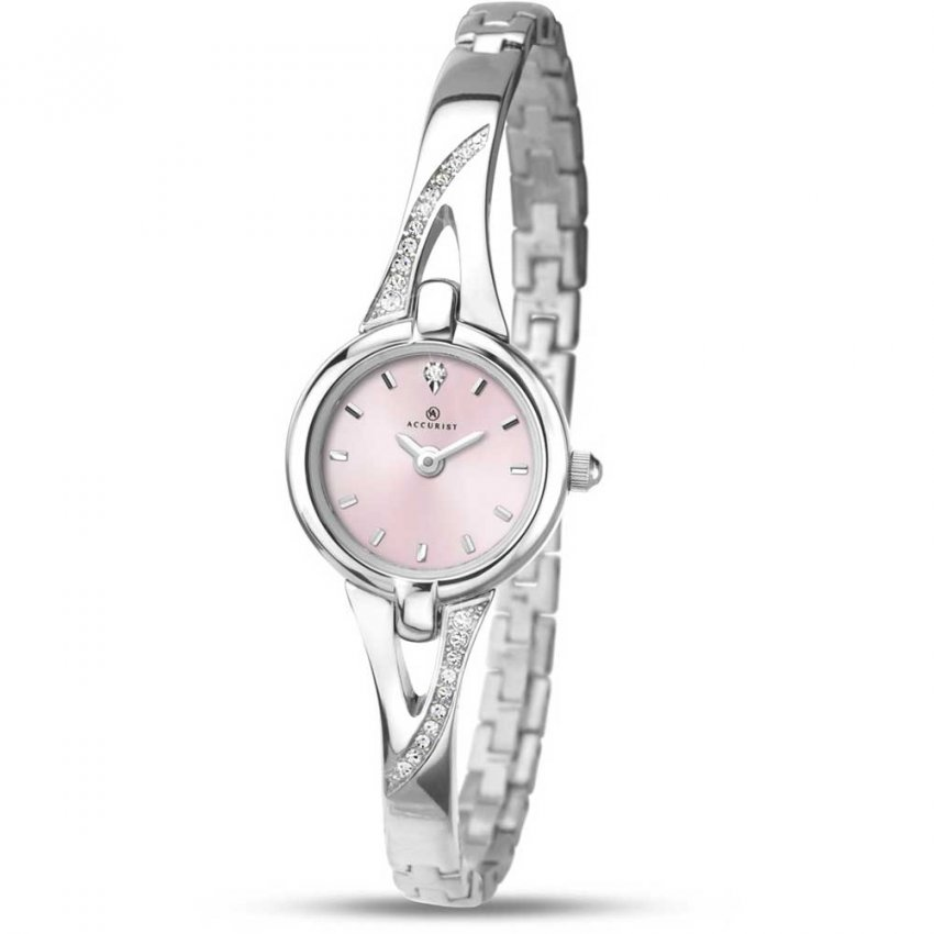 Accurist Women's Stone Set Half-Bangle Pink Dial Watch 8038