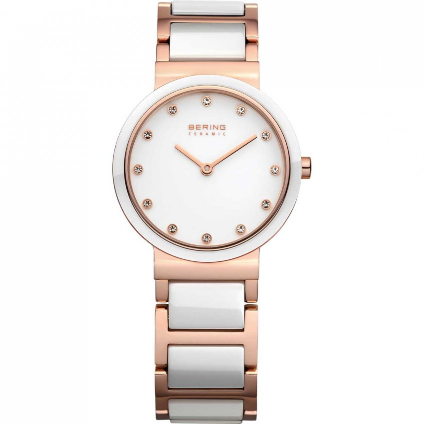 Bering Women's White Ceramic & Rose Gold Bracelet Watch 10729-766