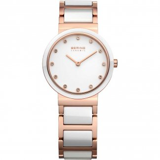 Women's White Ceramic & Rose Gold Bracelet Watch