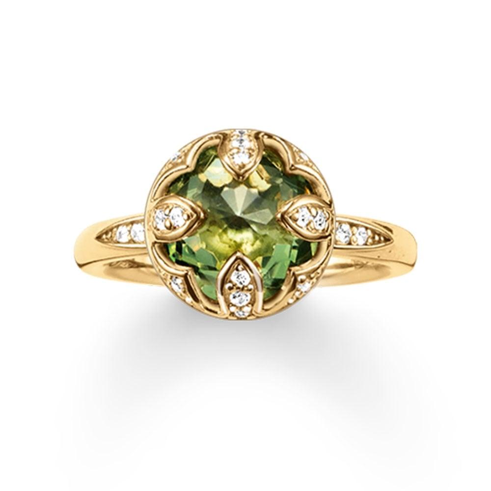 Thomas Sabo Yellow Gold Green Purity Of Lotus Ring