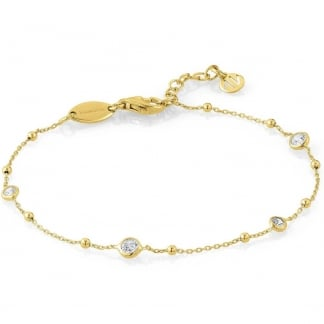 Yellow Gold Plated Cubic Zirconia Bella Bracelet