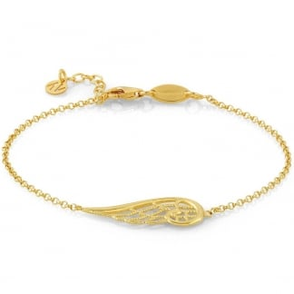 Yellow Gold Single Angel Wing Bracelet
