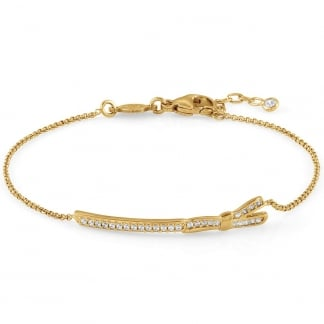 Yellow Gold & Stone Set My Cherie Long Bow Bracelet